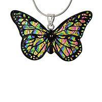 Colors of Transformation - Iridescent Dichroic Glass & Sterling Butterfly Pendant