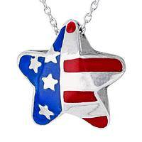 Star of Liberty - Silver-Plated and Enamel Stars and Stripes Pendant Necklace