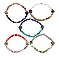 For the Love of Animals - Glass and recycled paper beads stretch bracelet