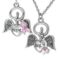 Hope Eternal  - Gleaming Silver Toned Pink Ribbon Angel Wings Necklace
