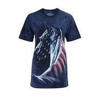 Red, White, Blue and Free - 100% Preshrunk Cotton T-Shirt With American Patriotic Horse