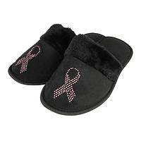 Soothing Comfort - Luxurious Slippers Featuring A Glittering Pink Ribbon Design