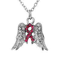 Precious Faith - Rhinestone Angel Wing Necklace With Pink Ribbon Motif