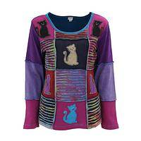 Kittens in the Window - Handmade Patchwork Peek Kittens Long-Sleeve Cotton Top