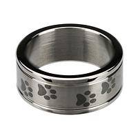 Circle of Love - Stainless Steel Ring With Imprinted Paw Print Design