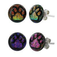 Paw-fect Print - Gilttery holographic glass paw print earrings
