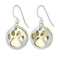 Paw Print Duo Earrings - Silver and Golden Brass Paw Prints Handmade and Polished