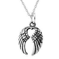 Swept Away - Pewter Angel Wings with Heart Cut-Out Pendant Necklace
