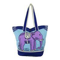 Splendid Pachyderm - Indian Elephant Organic Cotton Tote Bag With Button Closure