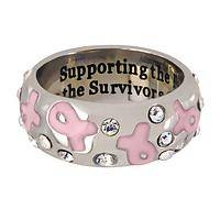 Supporting the Fight - Stainless Steel & Swarovski Crystal Pink Ribbon Support Ring
