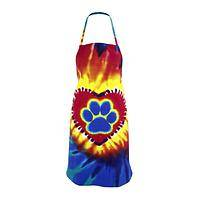 This Paw's On Fire - Paw Print Tie-Dyed 100% Cotton Colorful Kitchen Apron