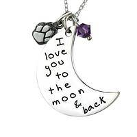 To The Moon and Back - I Love You To The Moon Paw Print Necklace