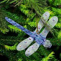 Shimmering Glass Dragonfly - Handcrafted Unique Ornamental Glass Dragonfly