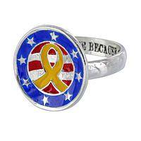 Honoring the Brave - Tribute to Our Troops Silver-Plated Yellow Ribbon Ring