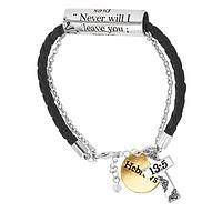 Never Will I Leave You - God's Promise Silver & Gold Tone Scroll & Charm Bracelet