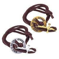 Lay Down Your Burdens - Nail It To The Cross Metal and Suede Cord Bracelet