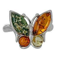 Winged Delight - Sterling Silver and Multicolored Amber Butterfly Ring