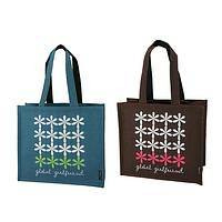 Modern Daisy Chain - Global Girlfriend Modern Floral Design Jute Tote Bag