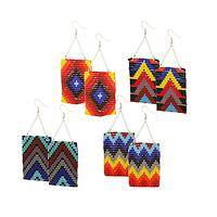 Tribal Inspiration - Intricately Beaded Geometric Pattern Dangle Earrings