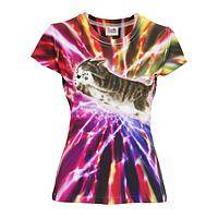 Cosmic Kitty - Tie-Dye Star-Powered Kitty Poly/Spandex Fitted Tee