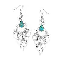 Princess of the Andes - Exotic Turquoise and Silver-Plated Chandelier Earrings