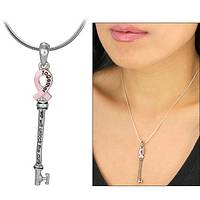 Key to the Future - Silver Pendant Pink Ribbon Key To Unlock the Cure