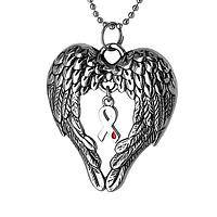 Heavenly Embrace - Angel Wings Diabetes Awareness Ribbon Pendant Necklace