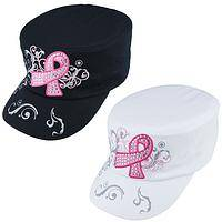 Shining Strength - Military Hat Topped With Rhinestone Pink Ribbon Design