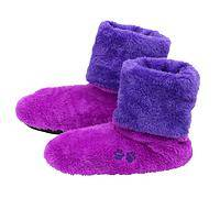 Cozy Warmth - Soft Fleece Booties Featuring Bright Purple and Paw Prints