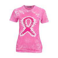 Groovy Support - Original pink tie dye design tee supporting cancer awareness
