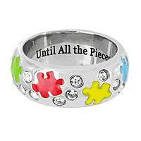 Sparkling Solution  - Autism Awareness Puzzle Pieces Swarovski Crystal Ring