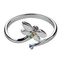 Dragonfly in Flight - Adjustable Silvery Crystal Dragonfly Ring