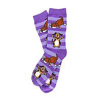 Striped Snuggles - Purple Striped Socks with Cuddly Canine Theme