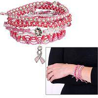 Pink Circle of Support - Handcrafted Pink and White String Beaded Bracelet
