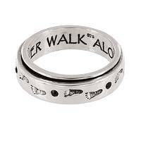 "Sterling Spinner of Support - Diabetes Awareness ""Never Walk Alone"" Ring"