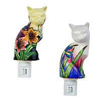 Luminous Feline - Decorative Floral Kitty Cat Night Light