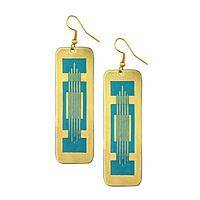 Totally Awesome Beauty - Turquoise patina and Brass handmade stylish earrings