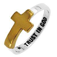 Faith and Trust - Trust in God Sterling Silver and Gold-Plated Cross Ring