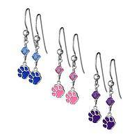 High Five! - Sterling Paw & Crystal Dangle Charm Earrings