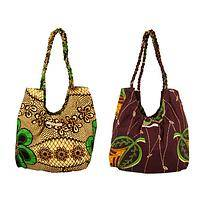 Flowering Jungle - Handmade Cotton Tribal Print Hobo Bag