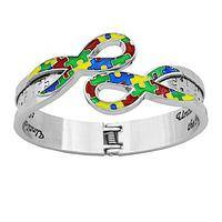 Solving the Riddle - Brightly Enameled Autism Awareness Ribbons Hinged Bangle