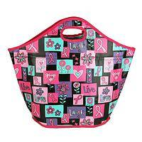 Big Pink Ribbon Shopping Tote - Insulated Shopping Tote for Breast Cancer Awareness