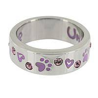 Unconditional - Stainless Steel Purple Paw Print Unconditional Love Ring