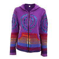 Swirls of Vibrance - Cotton Long-Sleeve Purple Jacket with Rainbow Swirl Applique