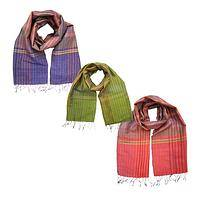 Striped Sensations - Colorful Handmade Silk Scarf