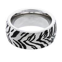 Ready to Roar - Stainless Steel & Enamel Fierce Tiger Stripe Ring