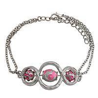 Triple Spin Pink Ribbons - Three Spinning Pink Ribbon Beads Infinity Bracelet
