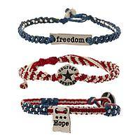 Patriot Bands - Hope Courage & Freedom Woven Set Of 3 Bracelets