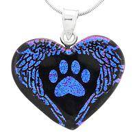 Winged Heart Paw - Dichroic Glass Purple Paw with Wings Heart Pendant Necklace
