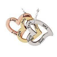 Three Hearts Together - Tri-Color Hearts of Hope, Faith, Love Necklace